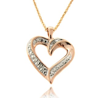 Finesque Rose Gold Overlay Diamond Accent Heart Necklace