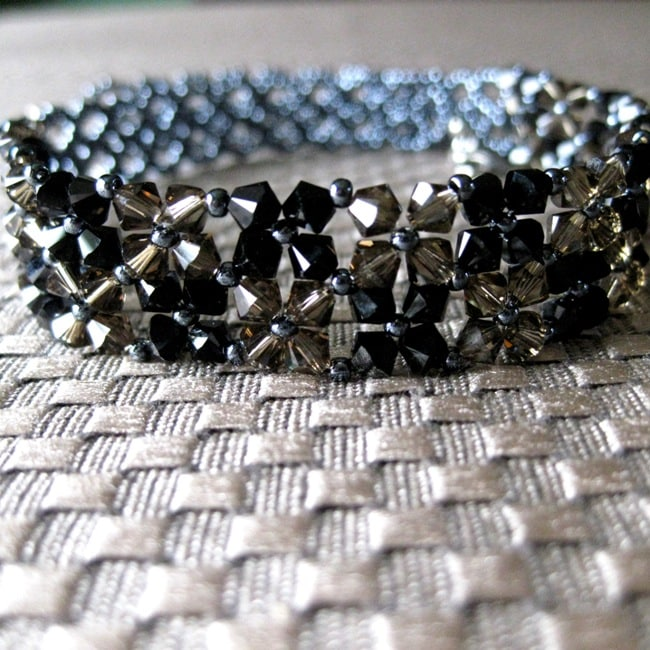 Stainless Steel Black and Brown Crystal Choker Necklace (USA)