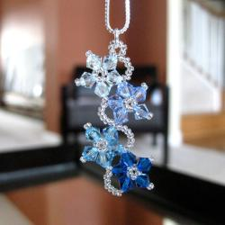 Sterling Silver Blue Crystal Flower Necklace (USA)