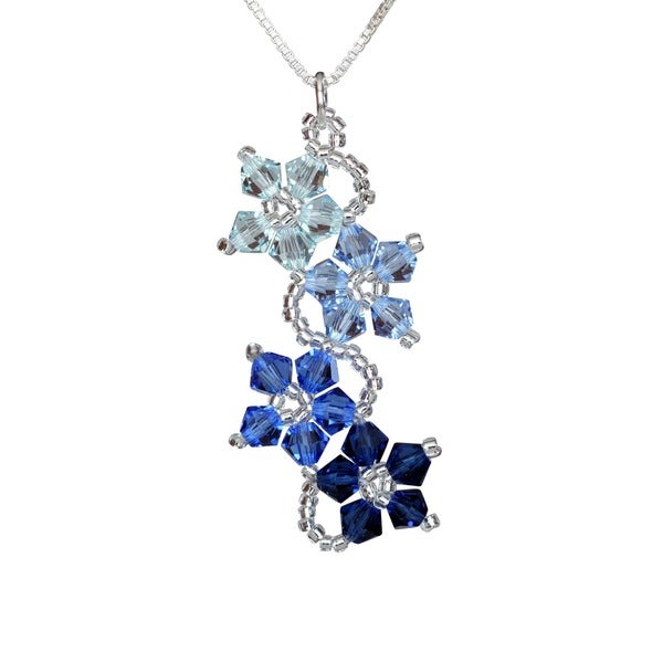 Sterling Silver Blue Crystal Flower Necklace