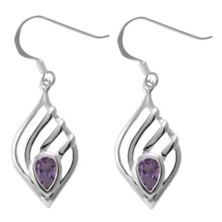 Sterling Silver Amethyst Teardrop Earrings (Thailand)