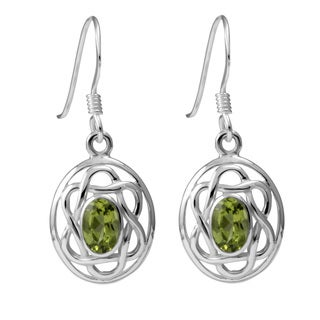 Sterling Silver Peridot Celtic Oval Earrings (Thailand)
