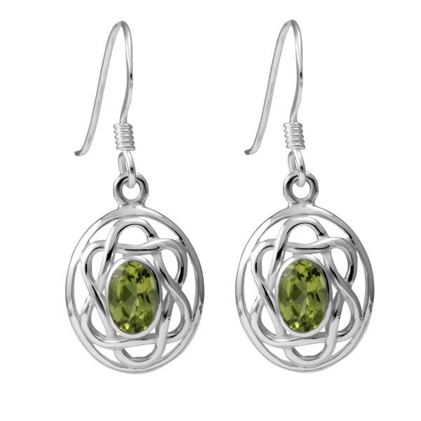 Sterling Silver Peridot Celtic Oval Earrings (Thailand)