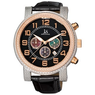 Joshua & Sons Men's Stainless Steel Chronograph Strap Watch with Black Dial