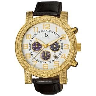 Joshua & Sons Men's Stainless Steel Chronograph Black Strap Watch