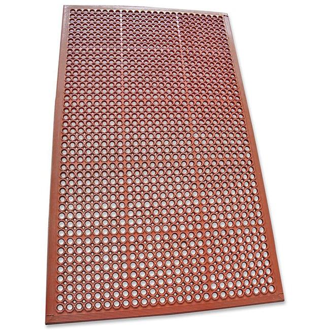 Rubber-Cal Dura-Chef Jr. Red Non-Slip Rubber Kitchen Mat