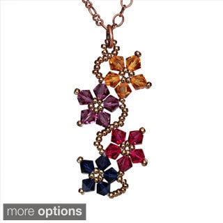 Copper Multicolored Crystal Flower Necklace (USA)