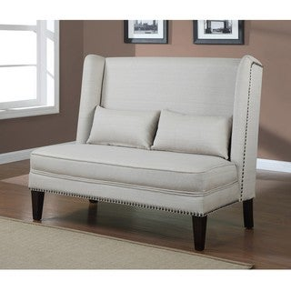 Wing Back Off White Natural Linen Loveseat