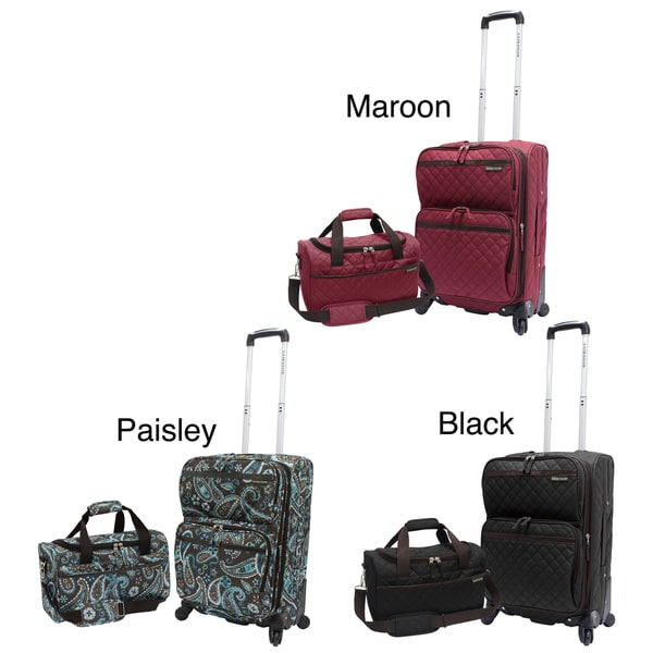 U.S. Traveler US3200 Quilted 2-piece Expandable Carry-On Spinner Luggage Set