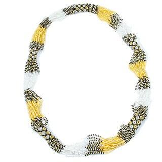 Glass Bead Geometric Long Necklace Gold (Guatemala)