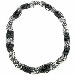 Glass Bead Geometric Long Necklace Black & Silver (Guatemala)