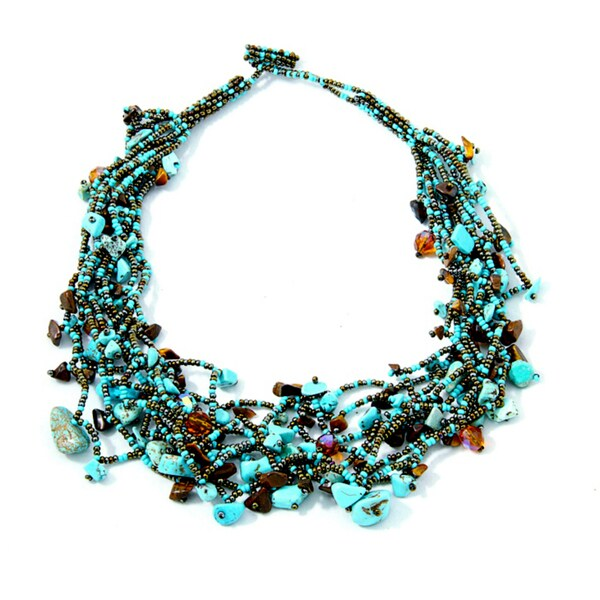 'Luzy Turquoise and Mocha' Bead Necklace (Guatemala)