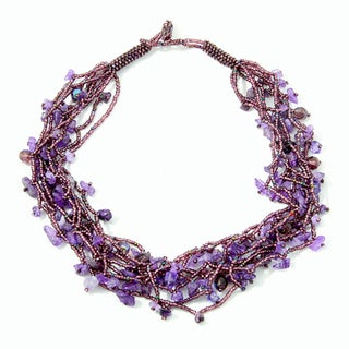 'Luzy Amethyst' Glass Bead and Amethyst Necklace (Guatemala)