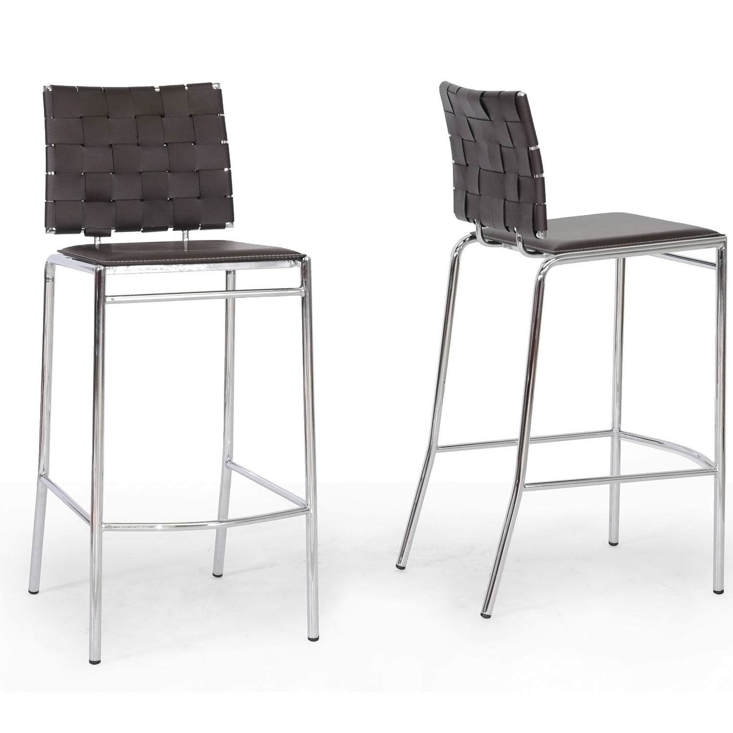 Vittoria Brown Leather Modern Bar Stools (Set of 2)