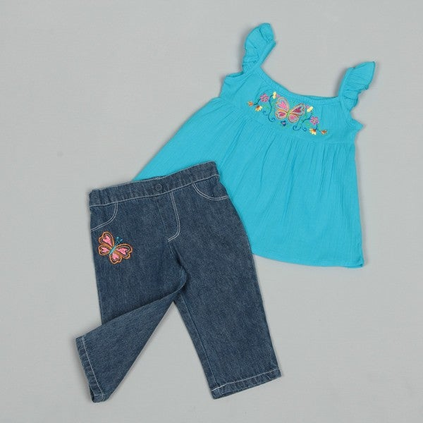 Baby Togs Toddler Girl's Butterfly Embroidery Denim Capri Set