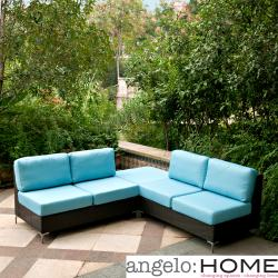angelo:HOME Napa Springs Ocean Blue 3 Piece Indoor/Outdoor Wicker Furniture Set