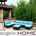angelo:HOME Napa Springs Ocean Blue 6 Piece Indoor/Outdoor Wicker Furniture Set