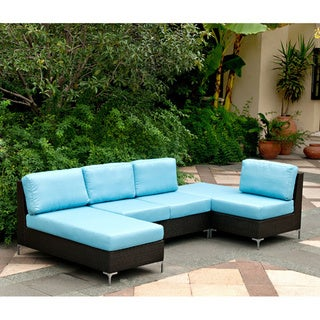 Angelo home napa springs ocean blue 4 piece indoor outdoor wicker sectional set overstock Angelo home patio furniture
