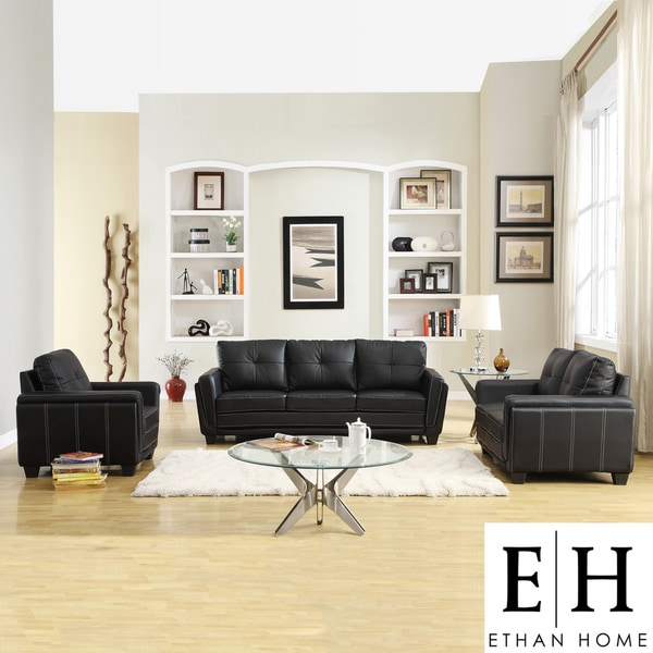Leah Black Vinyl Chair, Loveseat and So
