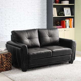 Leah Black Faux Leather Low Profile Loveseat
