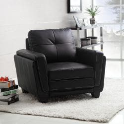 Leah Black Faux Leather Low Profile Chair