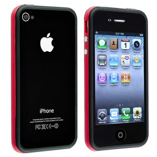 Red/ Black Bumper TPU Rubber Case with Buttons for Apple iPhone 4/ 4S