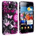 Black Flower/Butterfly TPU Rubber Skin Protective Case for Samsung Galaxy S II