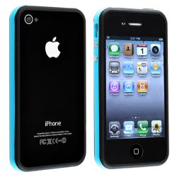 Blue/ Black Bumper TPU Rubber Skin Case/ Buttons for Apple iPhone 4/ 4S