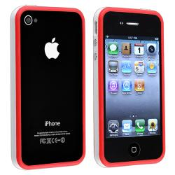 White/ Red Bumper TPU Rubber Skin Case/ Buttons for Apple iPhone 4/ 4S