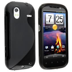 Frost Black S Shape TPU Rubber Skin Case for HTC Amaze 4G