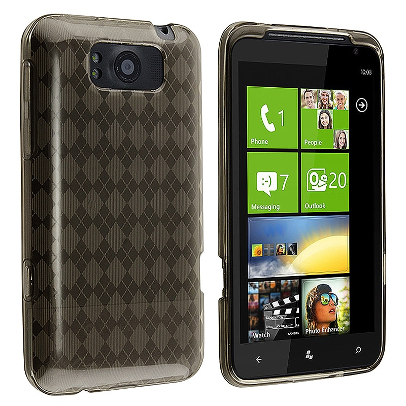 INSTEN Clear Smoke Argyle TPU Rubber Skin Phone Case Cover for HTC Titan