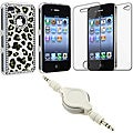Leopard Diamond Case/ LCD Protector/ Audio Cable for Apple iPhone 4S