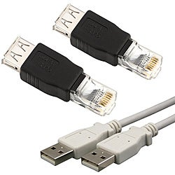 Black USB Type A to RJ45 Ethernet Adapter/ White USB Type A to A Cable