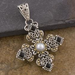 18k Gold and Silver Onyx and Pearl 'Cawi' Pendant (6 mm)(Indonesia)