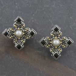 18k Gold and Silver Onyx and Pearl 'Cawi' Earrings (4 mm)(Indonesia)