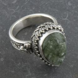 Sterling Silver Serpentine 'Cawi' Teardrop Ring (Indonesia)
