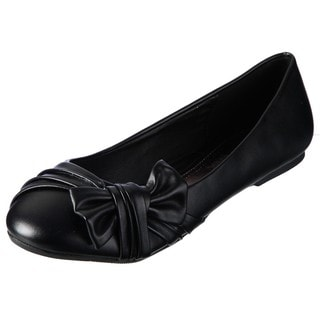 Lasonia Women's Black Pleat Detailing Bow Accent Flats