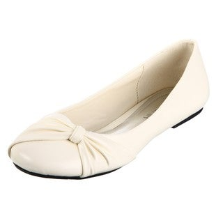 Lasonia Women's Beige Knot Detail Flats FINAL SALE