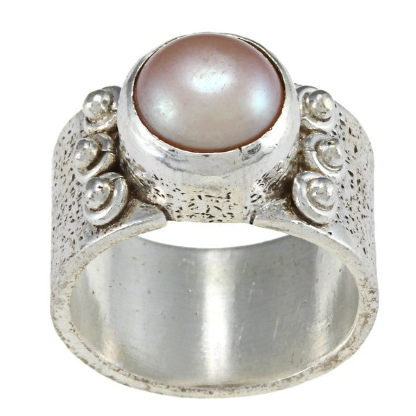 Wide Brushed Silver Pearl Ring (8.5 mm) (Nepal)