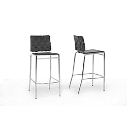 Vittoria Black Leather Modern Bar Stool (Set of 2)