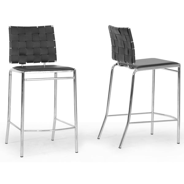 Vittoria Black Leather Modern Counter Stool (Set of 2)