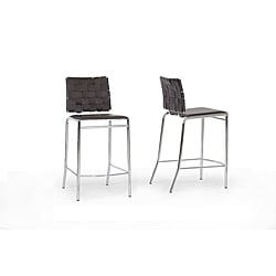 Vittoria Brown Leather Modern Counter Stool (Set of 2)