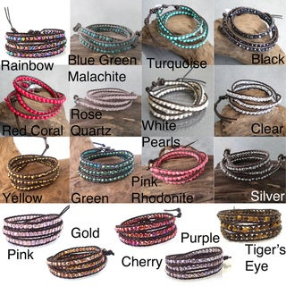 Gemstone or Pearl Tribal Wrap Leather Bracelet (4 mm) (Thailand)