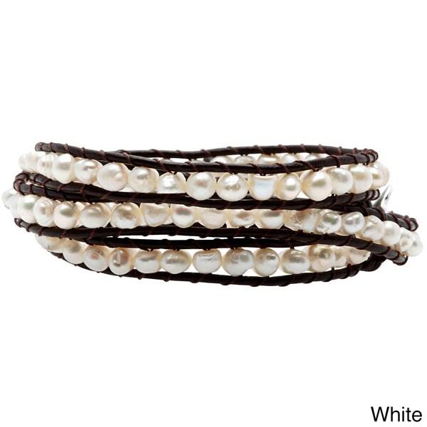 Native Gemstone/ Pearl Handmade Tribal Wrap Leather Bracelet (4 mm) (Thailand)