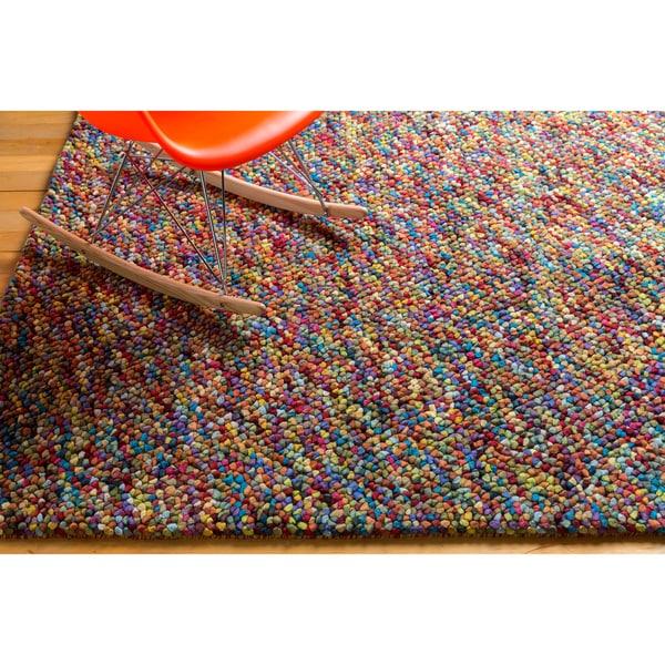 Plush Stone Rug: Hand-woven Tanitic Multi Color Burgundy Plush Shag Rug (5