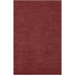 Candice Olson Hand-Knotted Serres Raspberry Geometric Wool Rug
