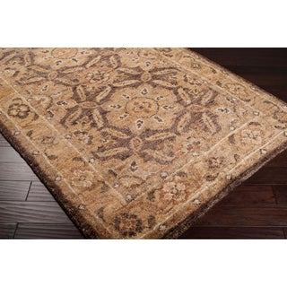 Hand-woven Granada Honey Traditional Border Hemp Rug (8' x 11')