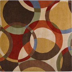 Hand-tufted Contemporary Multi Colored Circles Badalona Wool Geometric Rug (9'9 Square)