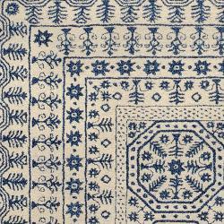 Smithsonian Hand-Tufted Palma Ivory/Navy Oriental Pattern Wool Rug (8' X 11')