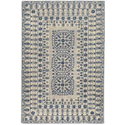 Smithsonian Hand-Tufted Palma Ivory/Navy Oriental Pattern Wool Rug (8' X 11')